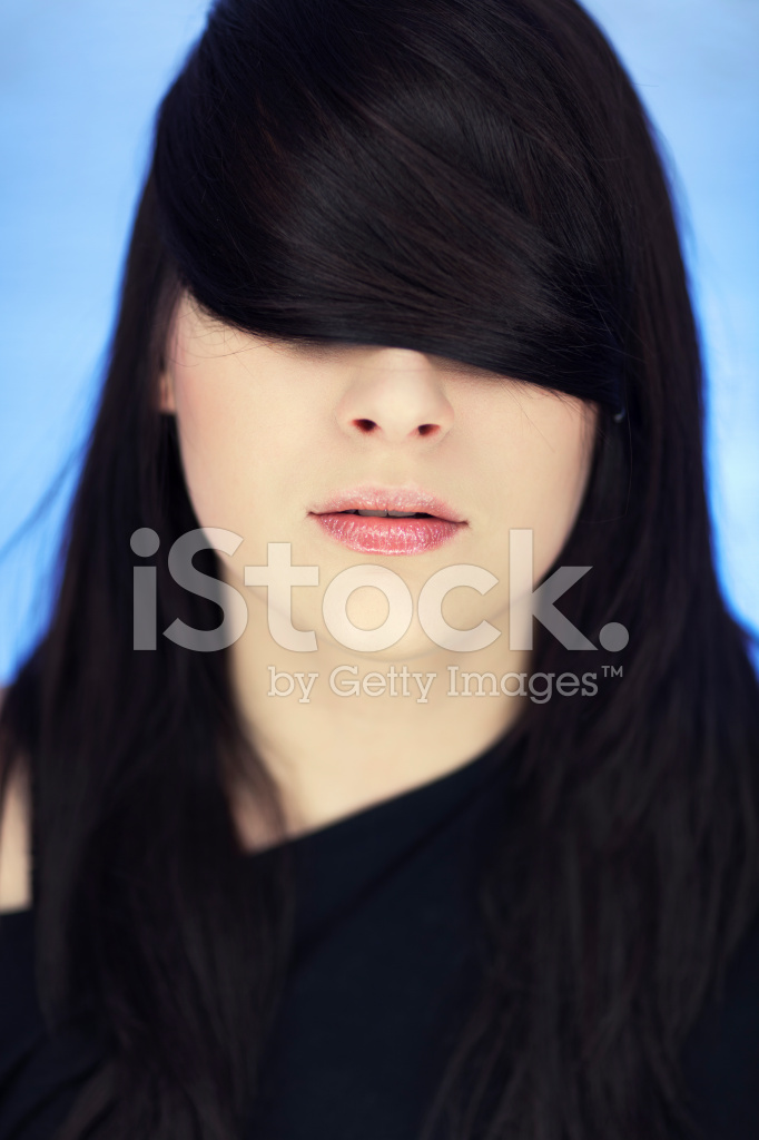 Woman With Hair Over Eyes Stock Photos Freeimages Com