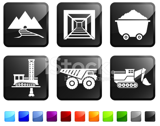 Mining and Drilling Royalty Free Vector Icon Set Stickers ...