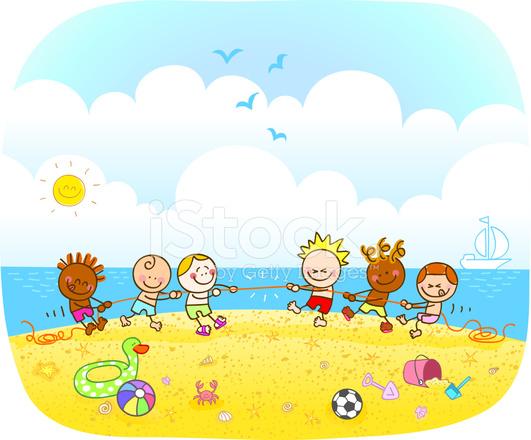 Ilustración De Dibujos Animados De Niños Felices Jugando En La Playa