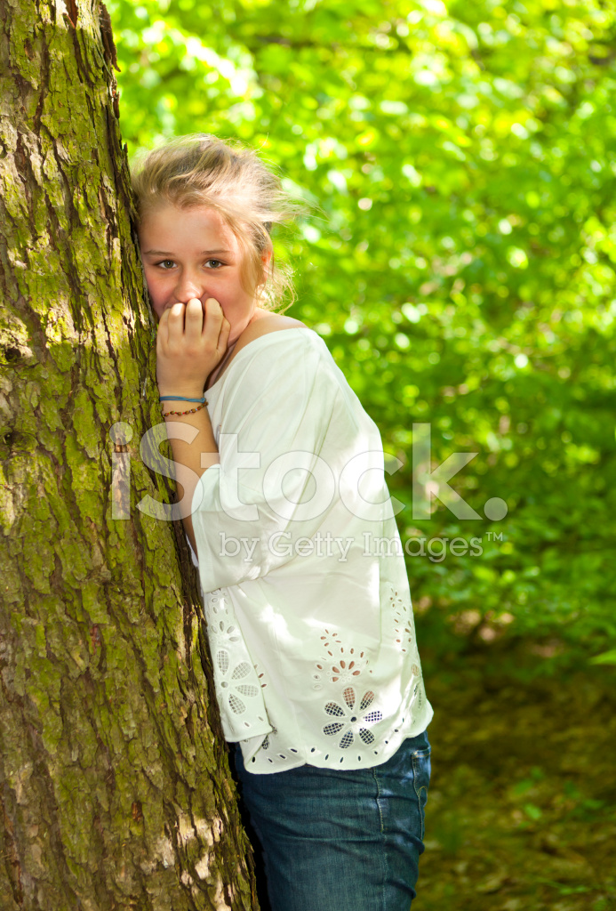 Portrait Of A Teenage Girl IN The Forest Stock Photos