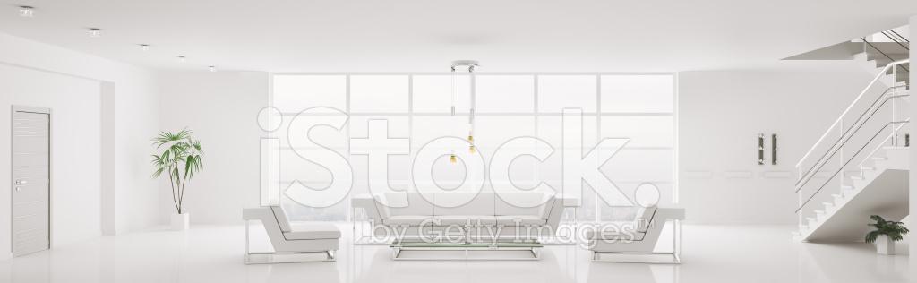 Witte Interieur Van Modern Appartement Panorama 3d Render ...