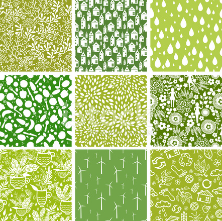 Nine Eco Nature Seamless Patterns Set Stock Vector FreeImages Enchanting Nature Patterns