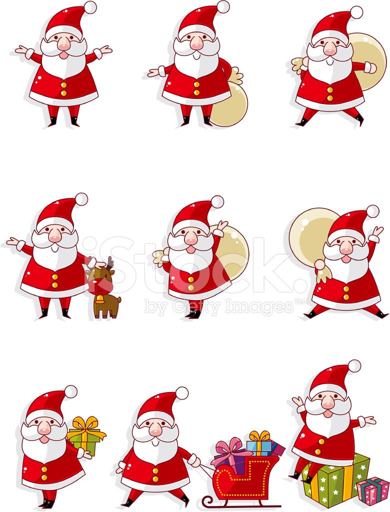 Cartoon Santa Claus Xmas Icon Set Stock Photos FreeImagescom