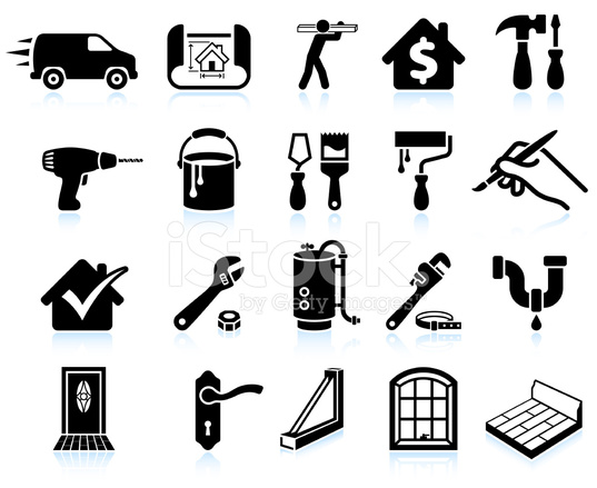 House Repair Home Improvement Black and White Vector Icon Set Stock Vector ...
