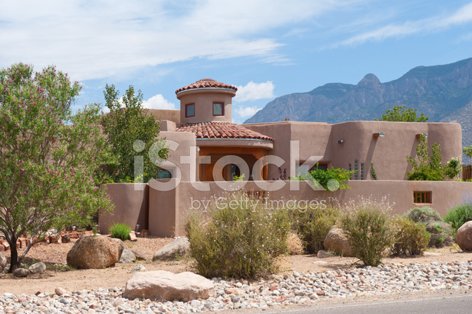 Modern southwest adobe house stock photos for Modern adobe houses