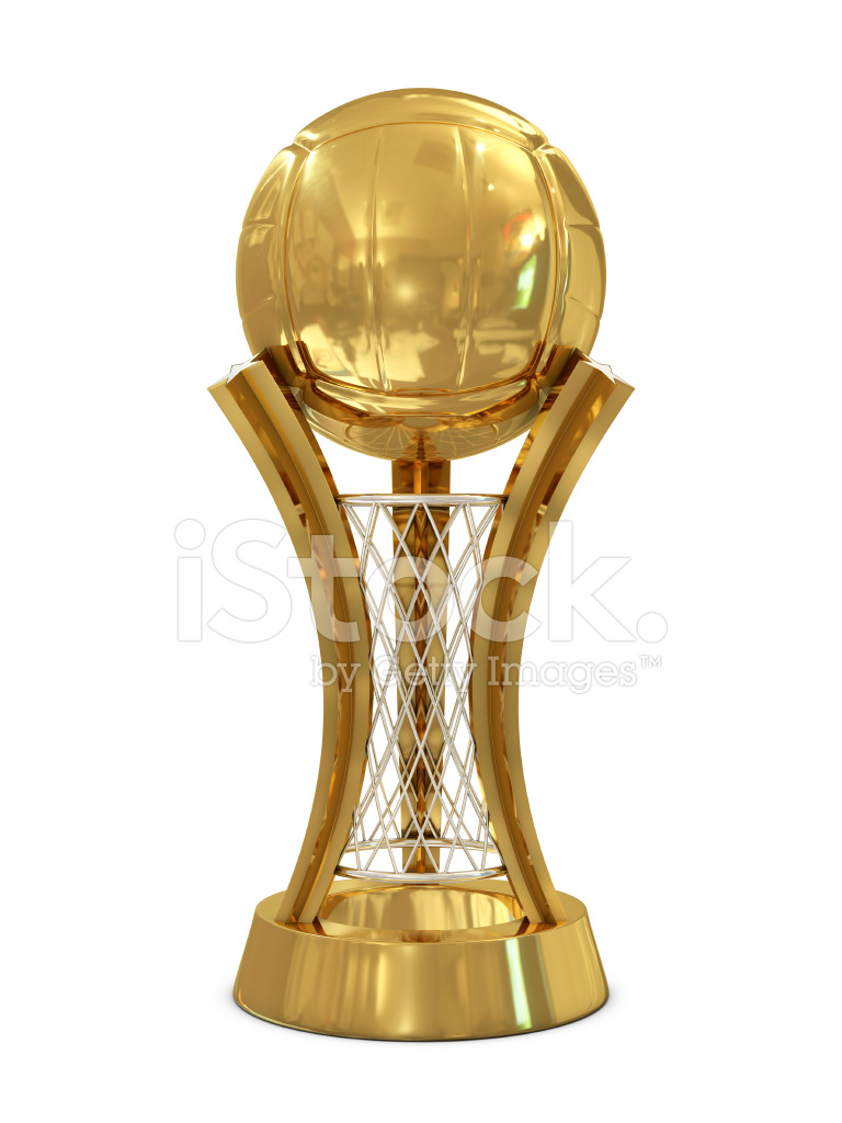 Golden Silver Volleyball Trophy With Ball And Net Stock