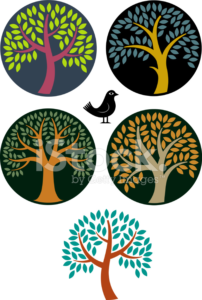 Circular Tree Symbols Stock Vector