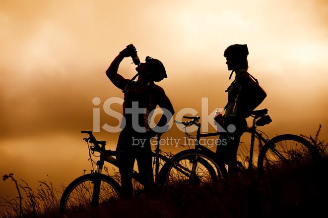 mountain bike couple drinking stock photos freeimages com
