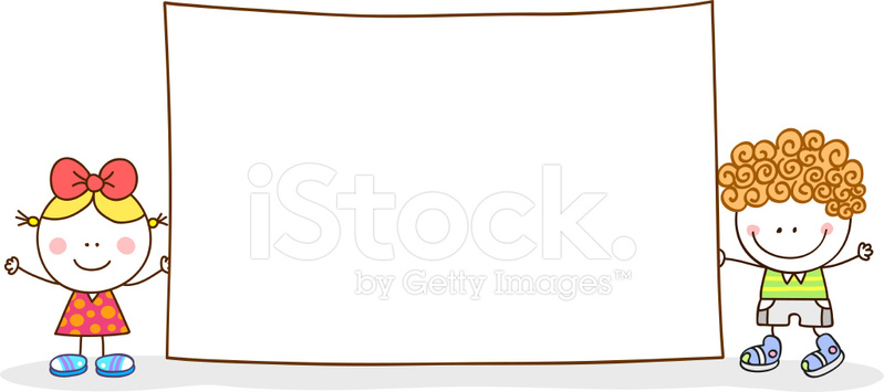Happy Kids Holding Blank Banner Vector Cartoon