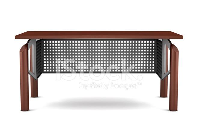 Table en bois de bureau brun moderne isolé sur fond blanc photos