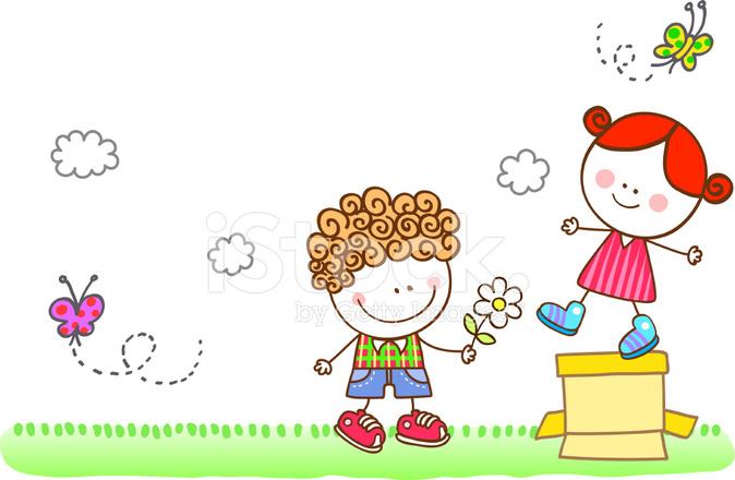 Amante Flirtare Illustrazione Di Cartone Animato Per Bambini Stock