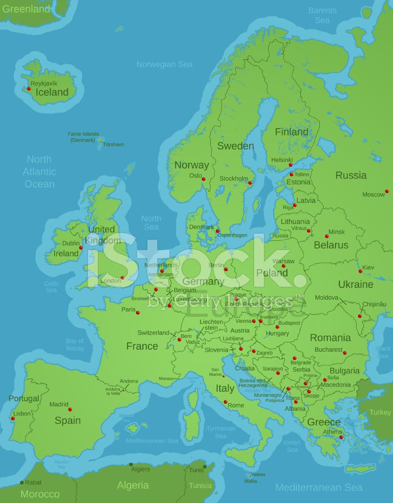 karta europa huvudstäder Kontinentala Europa Karta Med Huvudstäder Och Etiketter Stock  karta europa huvudstäder
