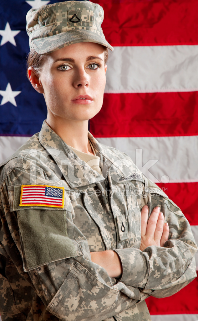 Female American Soldier Series Against USA Flag Stock