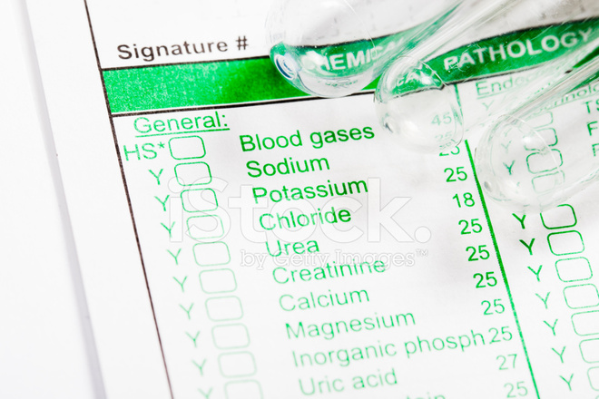 Specimen Collection Tubes On Blood Pathology Form Stock Photos