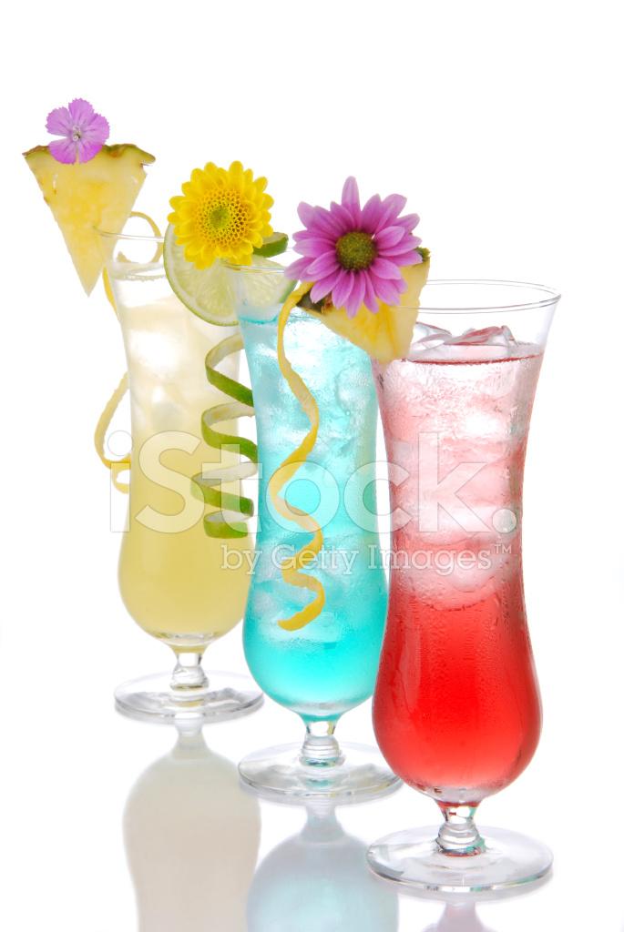 Cocktails Margarita Martini Row With Vodka Stock Photos