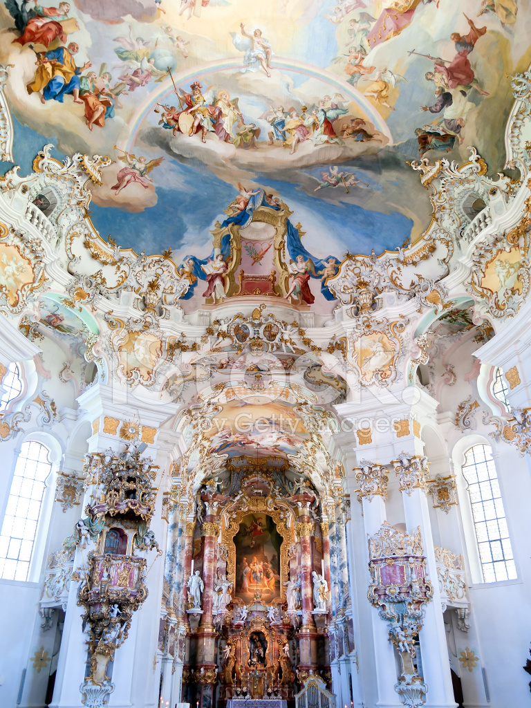 Baroque Wies Church Ceiling Germany Stock Photos