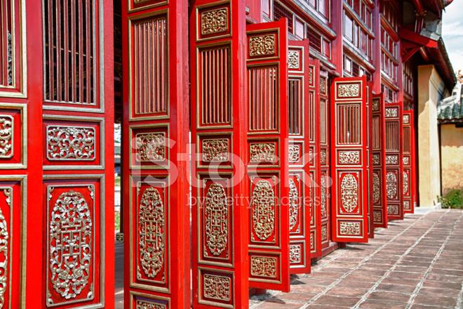 Premium Stock Photo of Red Doors IN Hueu0027s Imperial City (citadel) Vietnam & Red Doors IN Hueu0027s Imperial City (citadel) Vietnam Stock Photos ...