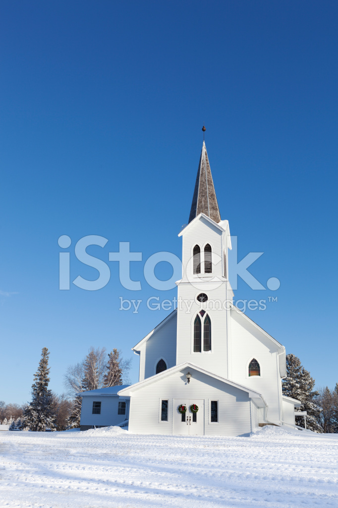 Country Church In Christmas Snowy Winter Vt