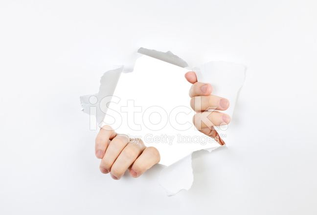 Hands Ripping Through Hole IN Paper Stock Photos ...