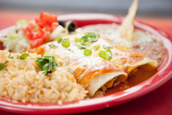 Enchiladas With Rice And Beans Mexican Food: Plate Wi...