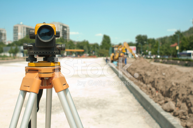surveying equipment to infrastructure construction project stock photos. Black Bedroom Furniture Sets. Home Design Ideas