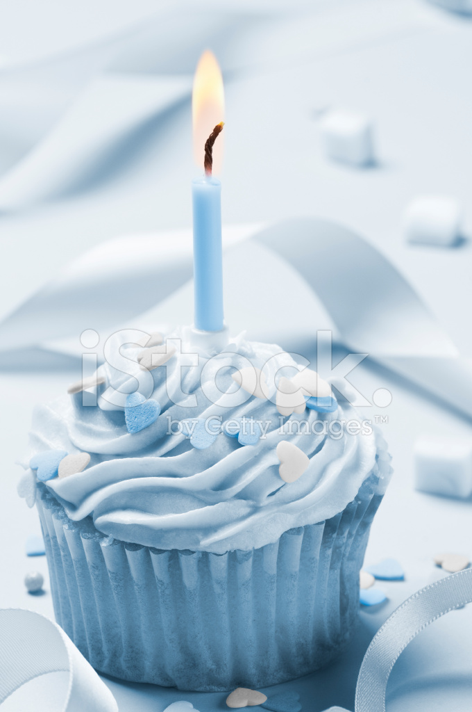 One Birthday Candle Clipart Blue Iced Cup Cake Wit...