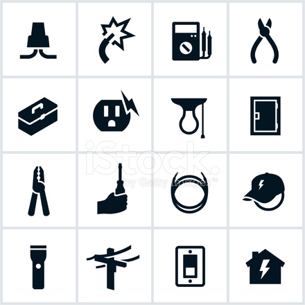 Electrical and electrician icons stock vector for Nicholas sparks black mountain furniture collection