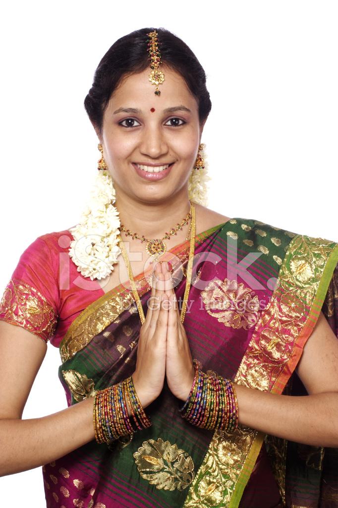 tradional indian woman greeting quot namaste quot stock photos