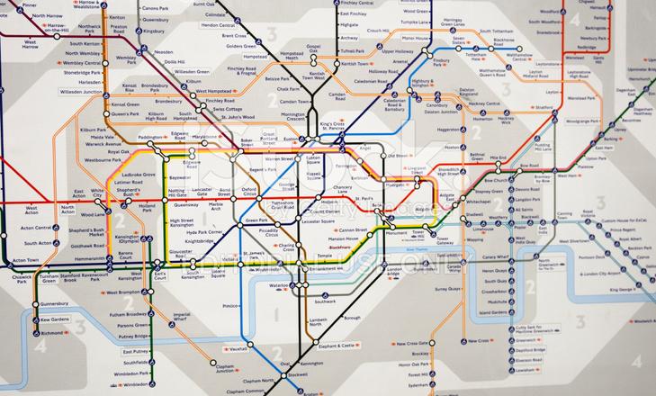 London Underground Map Subway Metro Station Stock Photos