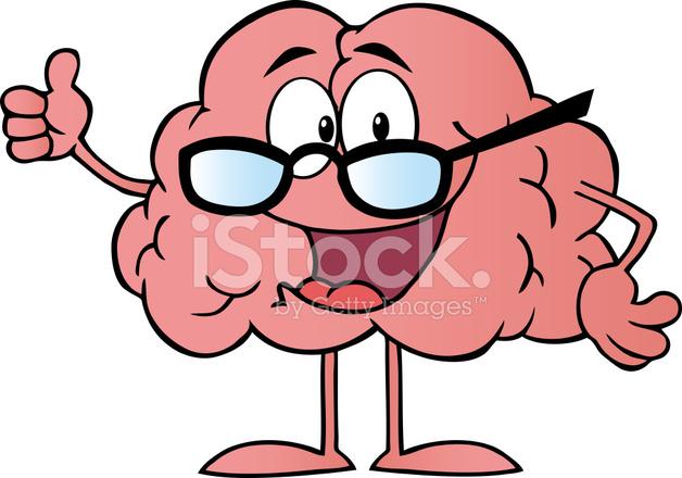 Personaje DE Dibujos Animados DE Cerebro Dando Los Pulgares Hacia