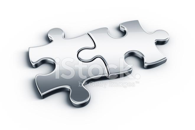 Metal Puzzle Pieces Stock Photos