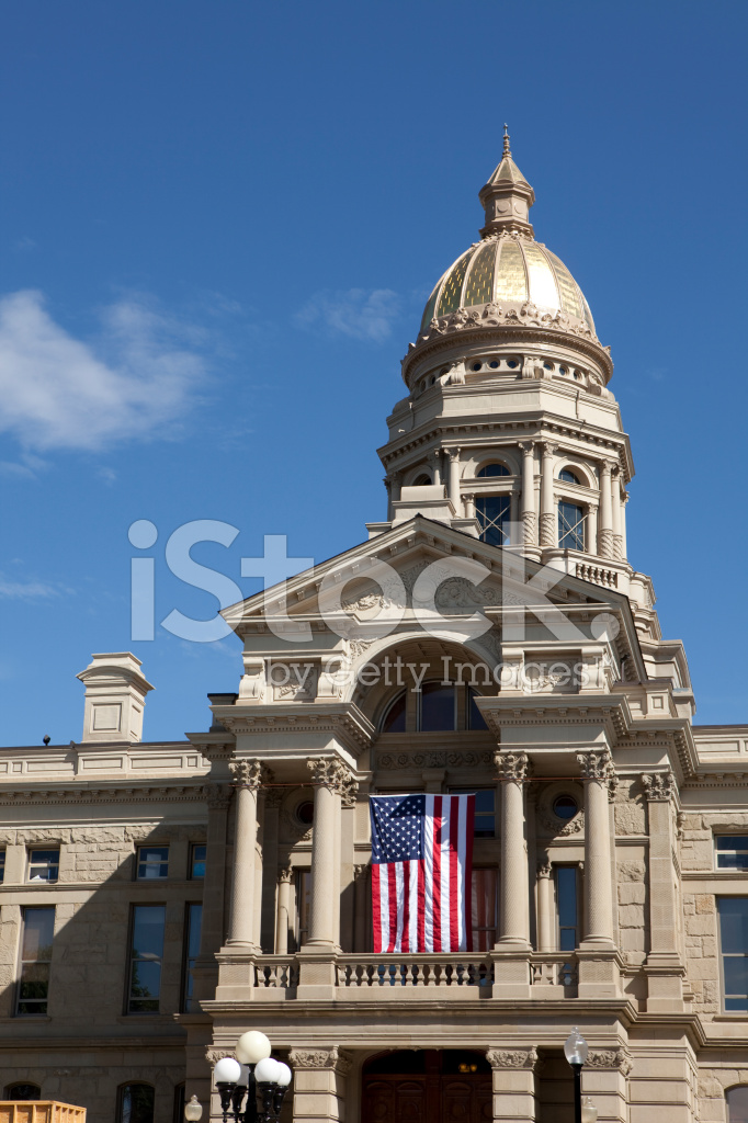 Wyoming State Capitol Building IN Cheyenne Vertical Stock