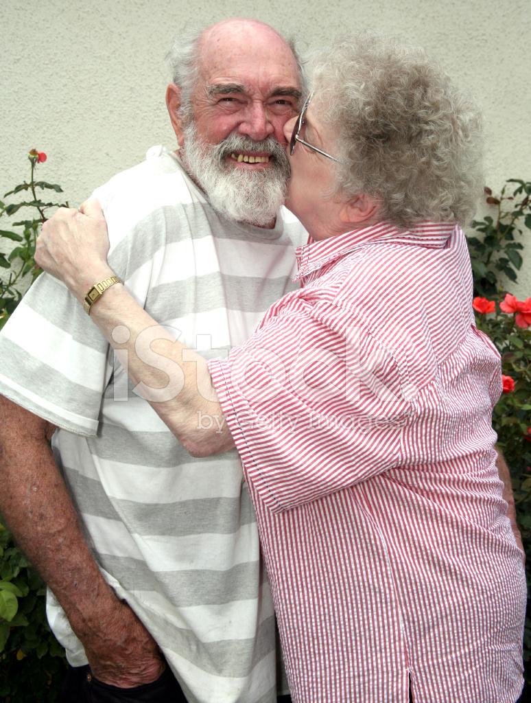 grandma kissing grandpa stock photos - freeimages