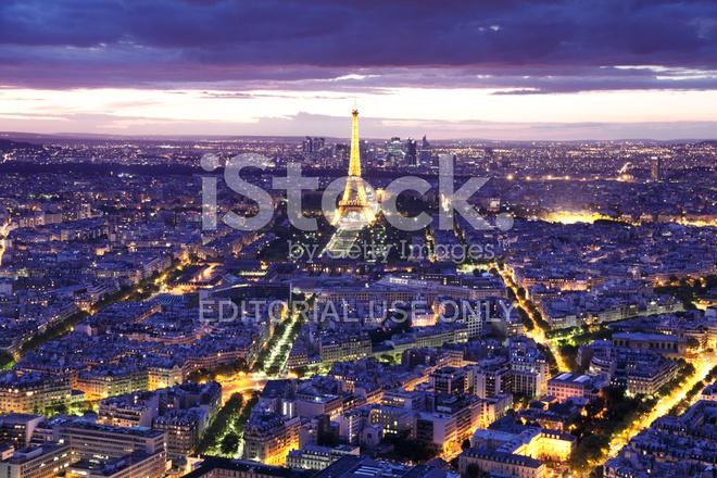 Vista Della Torre Eiffel Di Notte Da Tour Montparnasse