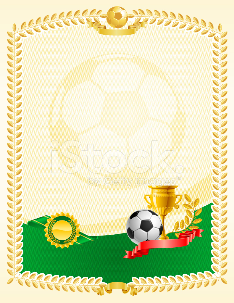 Soccer Football Certificate Award Stock Vector Freeimages