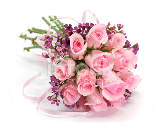 Pink And Mauve Rose Flower Bouquet Isolated On White