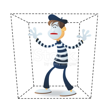 Mime IN A Box Stock Vector