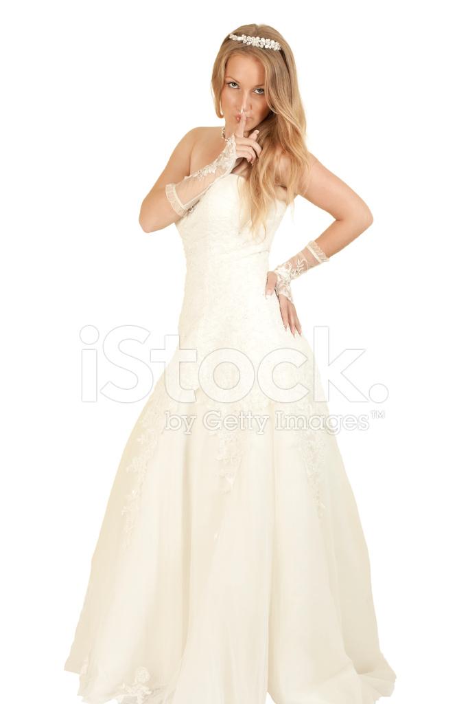 Mädchen IN Ein Brautkleid, Die Finger IN Der Nähe Von Den Lippen ...