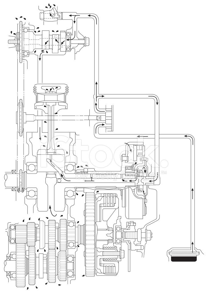 Atv Line Art Engine Oil Diagram Stock Photos