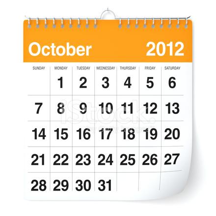 Oktober 2012 Kalender Stockfotos