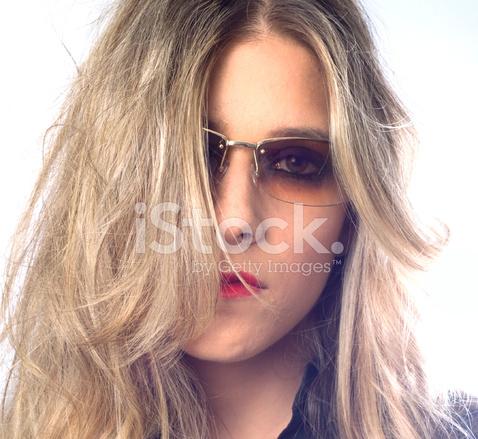 5c060049673 Blonde Female Headshot Wearing Designer Sunglasses Stock Photos ...