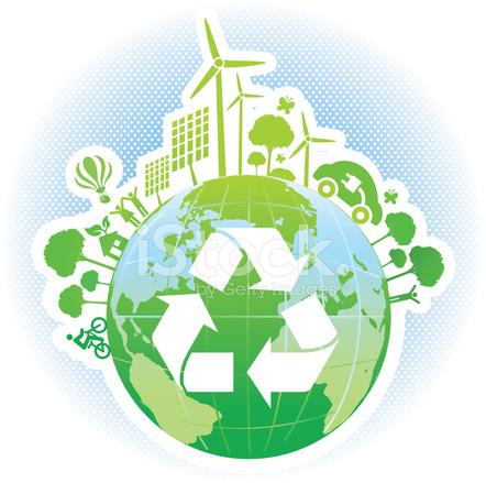 Mondo Verde Con Simbolo Riciclo E Rinnovabili Stock Vector