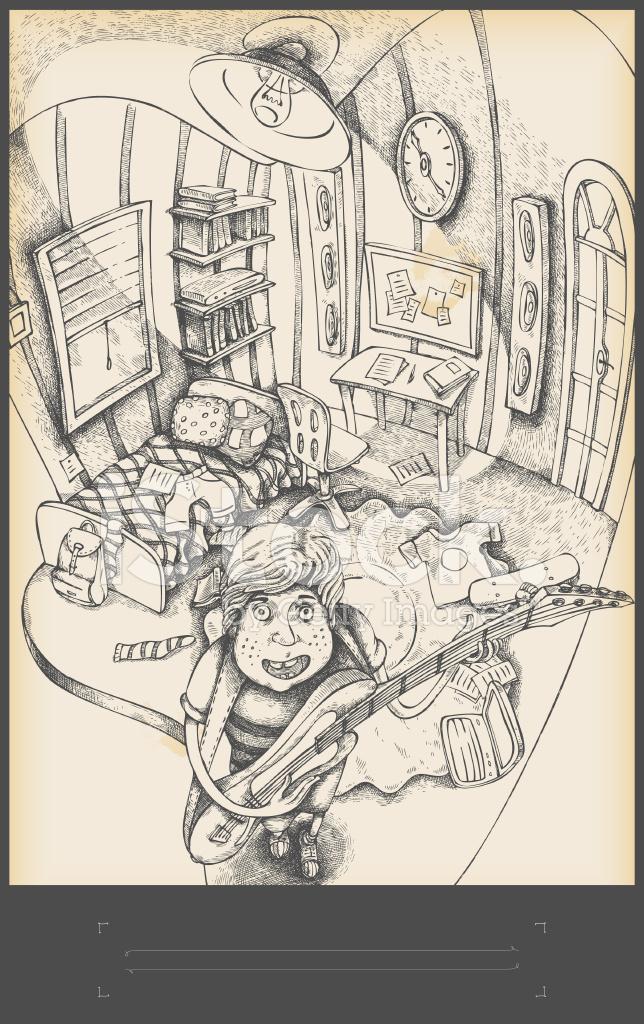 Chambre Dadolescent Garçon Jouant La Guitare Dessin Stock