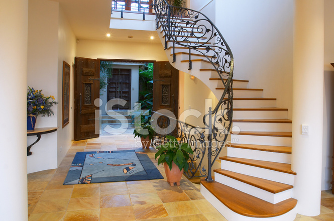 Tuscan Staircase With Wooden Doors