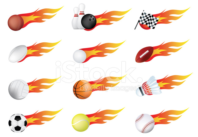 sports balls of many types on fire with flames stock vector. Black Bedroom Furniture Sets. Home Design Ideas