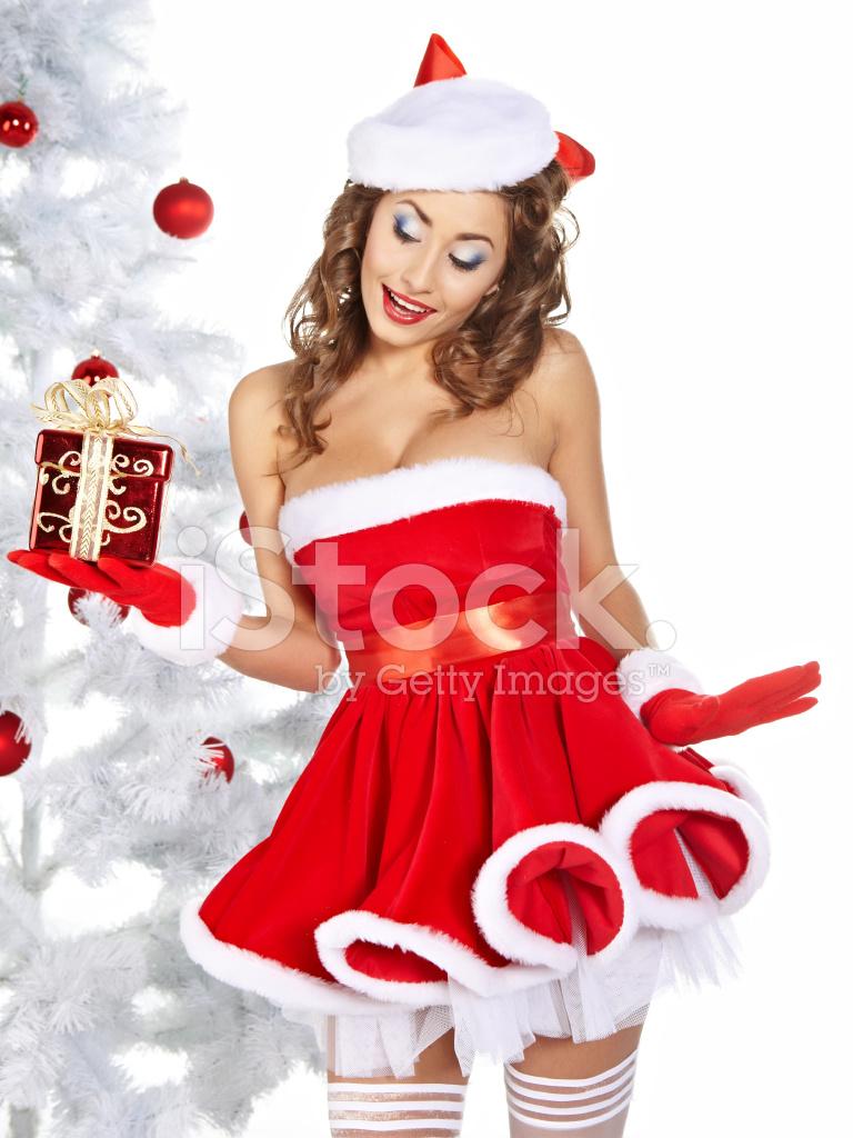 Geschenke Weihnachten Frau.Sexy Frau Zu Halten Ihr Geschenke Weihnachten Stockfotos