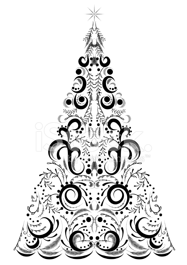 Victorian Calligraphy Style Christmas Tree Shape stock photos
