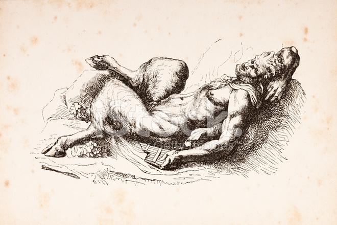 Gravure Dieu Pan De La Mythologie Grecque 1879 Stock Vector