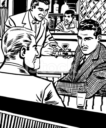 Two Men Sitting Inside Bar Stock Vector Freeimagescom