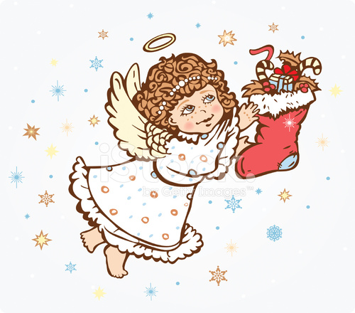 Рисунок ангелочек с подарком 81